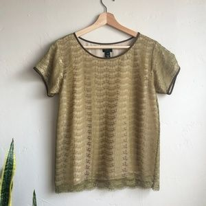 J. Crew Mossy Gold and Tan Lace Blouse